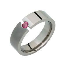 Titanium Ring W Pink Tourmaline Tension Set Half Polish Wedding Band Sz 4 to 14