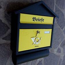XXL Briefkasten Postkasten Schwarz Gelb Matt +Zeitungsfach Wandmontage Nostalgie