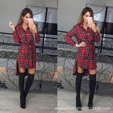 Womens Plaid Romper Skirt Dress Ladies Party Mini Shirt Dress Size 6 - 14