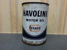 VINTAGE FULL 1 QUART TEXACO HAVOLINE MOTOR OIL METAL CAN QUART ADVERTISING