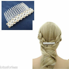 Gorgeous Diamante Hair Comb Slide Pearls Clear Plastic 8 cm Bridesmaid Bridal