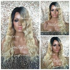 Long Body Wave Wavy Lace Front Wig Golden Platinum Blonde Mix Dark Root Heat Ok