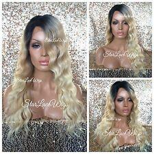 Long Body Wave Wavy Lace Front Wig Golden Platinum Blonde Mix Dark Root Heat Ok