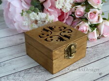 Rustic Country Wedding Ring Box. Carved Wooden Ring Bearer Box, Personalized