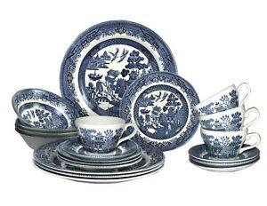 Churchill Blue Willow Plates Bowls Cups 20 Piece Dinnerware Set NEW