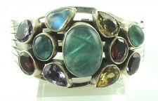 Cuff Bracelet Tourmaline Amethyst Citrine Garnet Sterling Silver Stylish Jewelry
