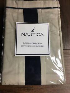 NEW Nautica FAIRFIELD ~ Euro Sham Blue / Cream 100% Cotton European
