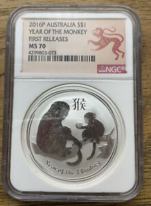 2016 P Australia Silver Lunar Year of the Monkey NGC MS 70 1 oz First Releases