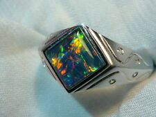 Mens Opal Ring Sterling Silver, Natural Opal Triplet. 8mm Square . item 060987.