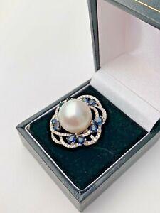 Pearl, Sapphire & Diamond Ring 18ct White Gold