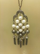 """Statement"" 33"" Chain Silver tone Necklace Beads & Faux Pearls, Pendant Hangs 5"""
