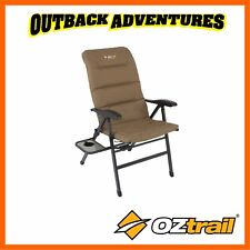 OZTRAIL EMPEROR 8 POSITION RECLINER ARM CHAIR WITH SIDE TABLE