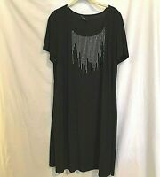 Tiana B Womens Dress Size 2X Embellished Black Tunic Dress Stretchy USA