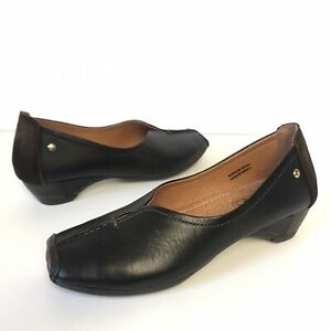 Pikolinos Shoes Size 36 Black Brown Leather Loafer Style Low Heel Spain $239
