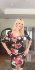 Dolce & Gabbana Red Roses Silk Sexy Mini Dress IT 40 US 4-6