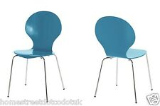 Stackable Dining/Office Chairs Many bright Colours wood & Chrome Legs Marcus NEW
