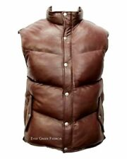 Men's Padded Brown Puffer WARM Sleeveless Real Genuine Leather Classic Waistcoat