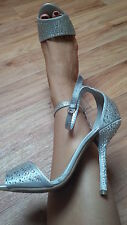Silver Satin & Diamonte Evening Stilletto Heels & FREE pair in Nude UK5 EU38