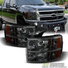 Smoked 2007-2013 Chevy Silverado 1500 2500 3500 Headlights Headlamps Left+Right