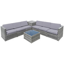 8PCS Outdoor Furniture Set Conversation Cushioned Sectional Sofa& Storage Table
