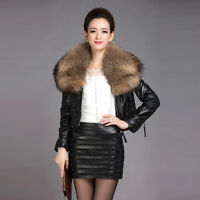 Genuine Sheep Leather Jacket with Removable Real Raccoon Fur Collar Coat