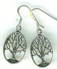 "925 Sterling Silver Tree of Life Oval  Drop / Dangle Earrings Length 1.1/2"""