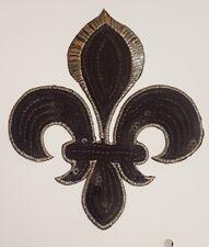 Black Sequin embroidery patch lace applique motif dress irish dance costume