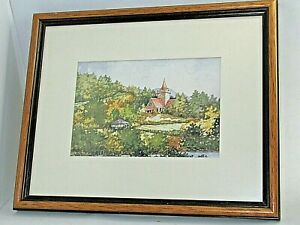 Watercolour Painting Crathie Church Royal Deeside Listed Artist Irvine Russell