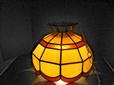 Vintage Mid Century Slag Glass Hanging Lamp Light fixture Amber Ivory SLAG LAMP