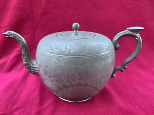 Antique Chinese Kut Hing Swatow Pewter Teapot Dragon & Birds Signed 19th Century