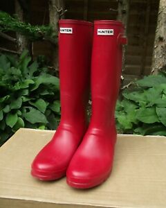 Hunter Mens' Wellington Boots Red Size 12 UK / 47 EU
