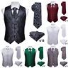 Mens Waistcoat Vest Silk Red Black Green Blue White Paisley Necktie Set Suit Tie