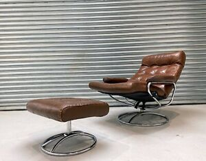 Mid Century Vintage Brown Leather Ekornes Stressless Lounge Chair with Ottoman