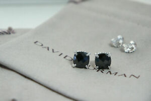 David Yurman Sterling Silver 9mm Black Onyx Diamond Chatelaine Stud Earrings