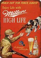 "1958 Miller Beer and Pheasant Hunting Vintage Retro Metal Sign 8"" x 12"""