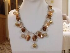 brown beads and crystals in a gift Brand new silver necklace with with gold and
