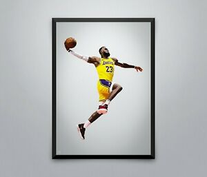 Lebron James Poster Dunk Lakers NBA Basketball Sport Wall Art Print 3 Sizes
