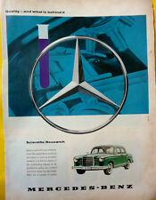 """Mercedes Benz W 110 """"Quality and what is behind it"""" original advertising 1960"""