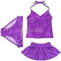 Kids Girls Three Piece Halter Tankini Set Swimwear Bikini Swimsuit Bathing Suit