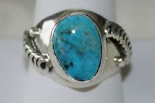 Signed Navajo Sterling Silver Sleeping Beauty Turquoise Ring - Sz 10.75