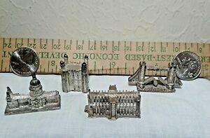 Lot of 4 Vintage Metal Mini Souvenir Buildings - England