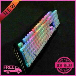 New Pudding Keycaps White Double Shot Translucent Pbt Ansi+iso 108 Keys For Rgb