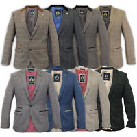 Mens Blazer Marc Darcy Wool Look Coat Formal Dinner Check Jacket Patch Lined New