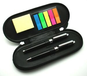 Deluxe Pen Set with Leather Pen Bag and Note Pad - The best choice for gift.