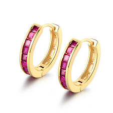 HUCHE Fashion Garnet Red Sapphire Channel 18K Gold Filled Women Party Earrings