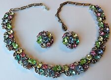 VINTAGE LISNER SIGNED PASTEL RHINESTONE NECKLACE AND EARRINGS