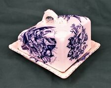 Antique 19th Century Flow Blue Floral Cheese Dish Dragon Handle Made in England