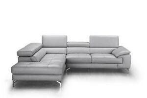 Olivia Premium Leather Sectional in Left Facing Chaise