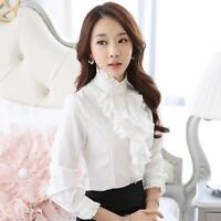 High Neck Frilly Ruffle Long Sleeve Shirt Career Women Blouse OL Trendy Lady Top