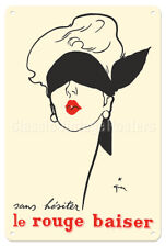 Without Hesitation Red Lipstick Rene Gruau 1949 - 8in x 12in Vintage Metal Sign